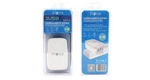 CARREGADOR INOVA CAR-8161 3 USB 5.1A